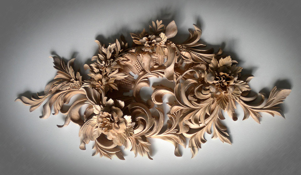 Custom wood carving by master carver alexander