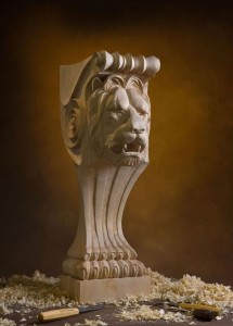 Lion Head Hand Carved by Alexander Grabovetskiy