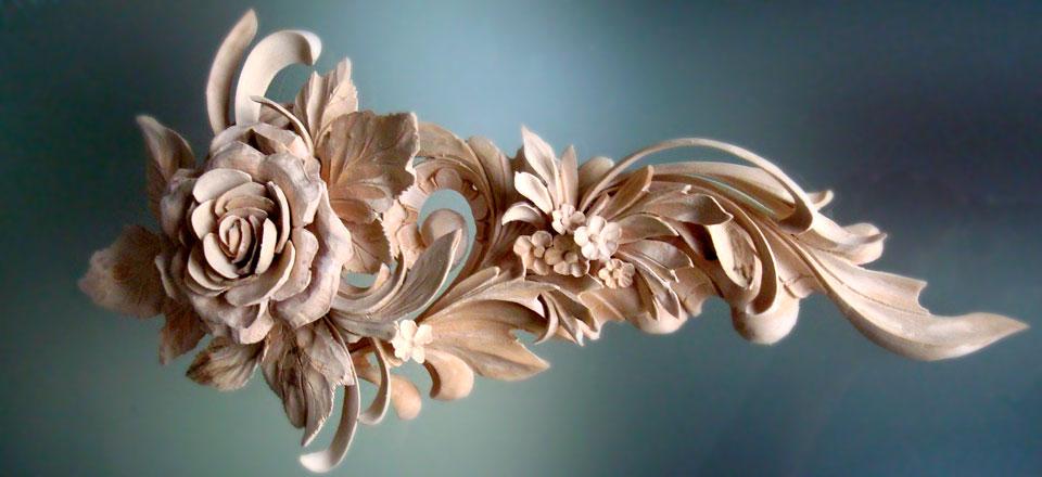 Foliage carving by master wood carver alexander grabovetskiy