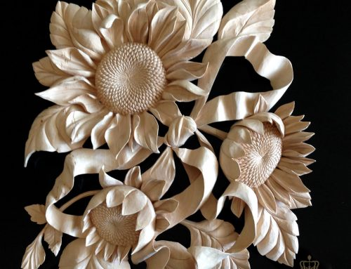 Woodcarving art sunflowers and ribbon
