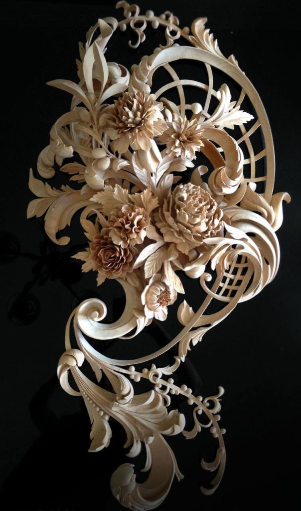 Hand Carved Flowers- custom ornamental Wood Carving, best wood carver in the world, WOODCARVING by hand